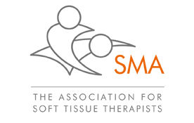 S.M.A full colour logo grey and orange massage icon of people