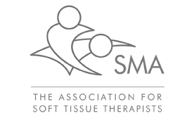 S.M.A grey logo two simple people icons of a massage